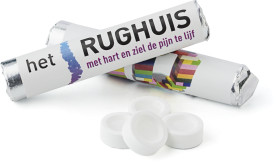 Relatiegeschenk Snoeprolletjes in pepermunt of fruitsmaak 12 tabletten
